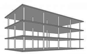 Havainnekuva kolmekerroksisesta pilarilaatastosta