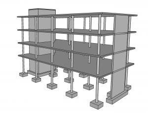 Esimerkki pilarilaattarungon jäykistyksestä, jossa rakennusrunko on jäykistetty porras- ja hissikuilusta koostuvalla jäykistystornilla (kuvassa vasemmalla) ja masto-seinällä (kuvassa oikealla)