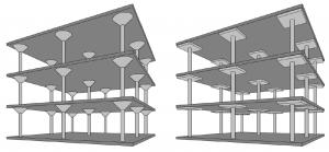 Havainnekuvat pilarilaatoista, joissa on käytetty vahvistussieniä (vasemmalla) ja vahvistuslaattoja (oikealla). Nykyisin pilarilaatta pyritään tekemään ilman laatan ulkoisia vahvistuksia.